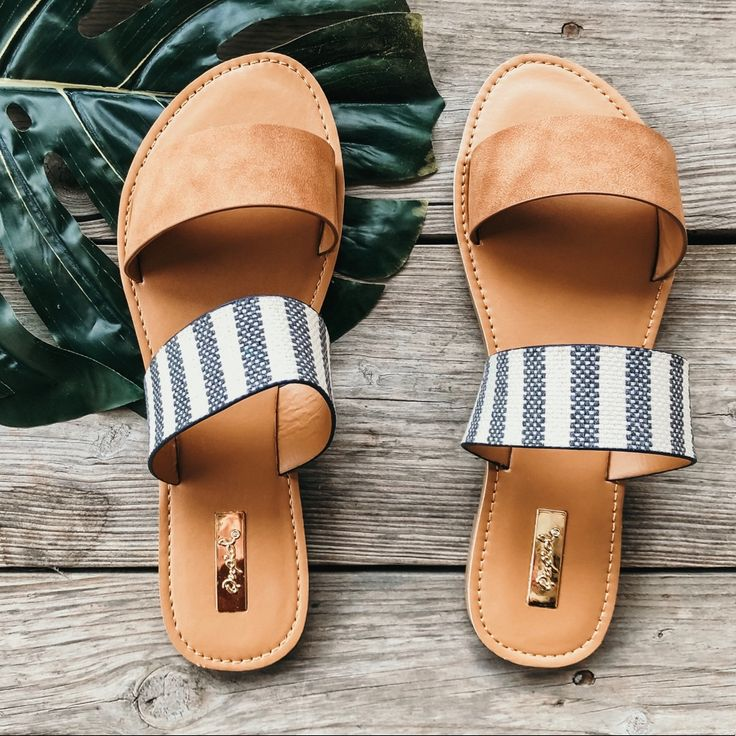 Qupid Shoes | Restocked Camel Striped Flat Vacation